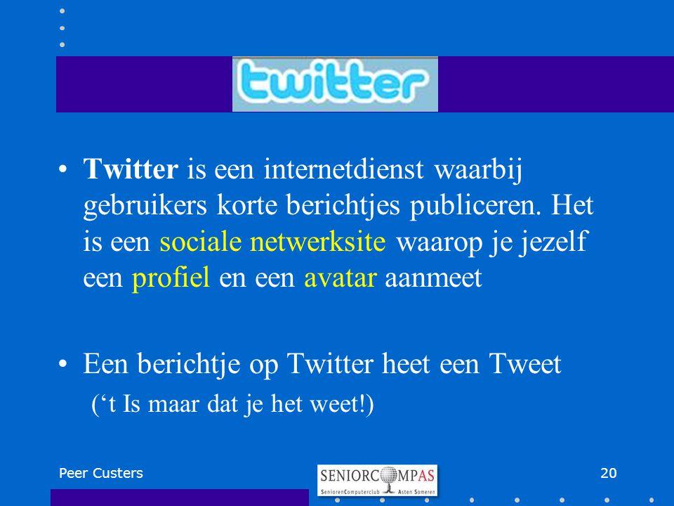 Twitter is een internetdienst waarbij gebruikers korte berichtjes publiceren. Het is een sociale netwerksite waarop je jezelf een profiel en een avata