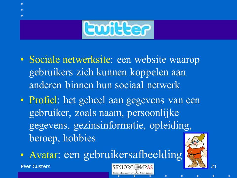 Sociale netwerksite: een website waarop gebruikers zich kunnen koppelen aan anderen binnen hun sociaal netwerk Profiel: het geheel aan gegevens van ee