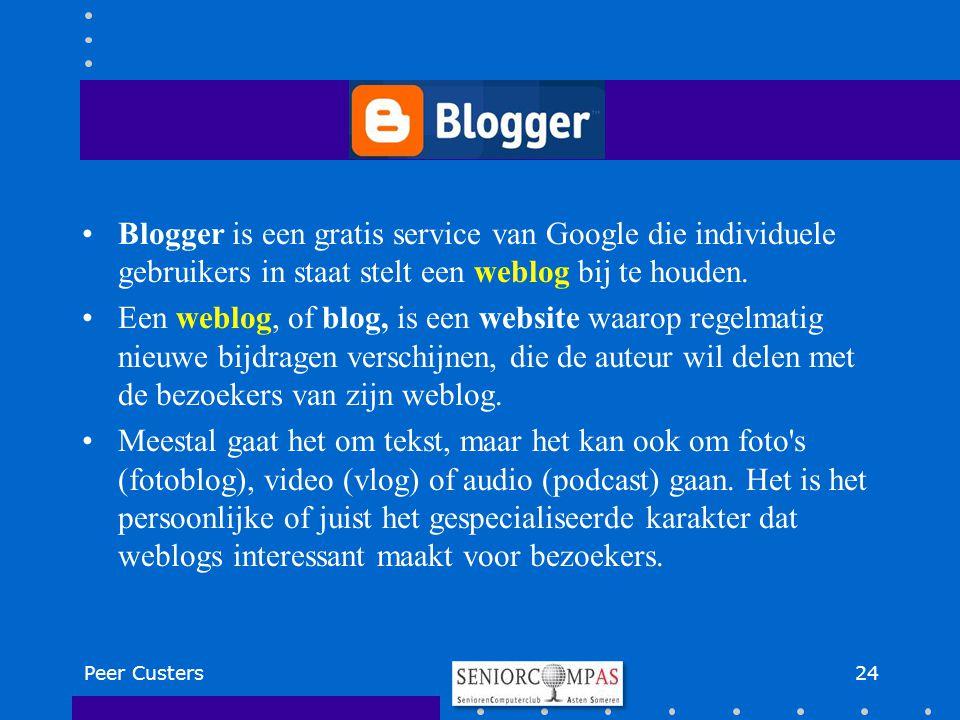 Blogger is een gratis service van Google die individuele gebruikers in staat stelt een weblog bij te houden. Een weblog, of blog, is een website waaro