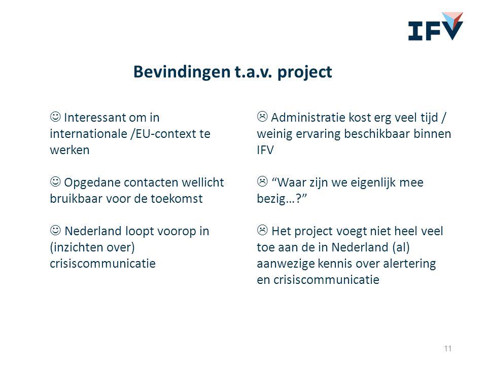 11 Bevindingen t.a.v. project Interessant om in internationale /EU-context te werken Opgedane contacten wellicht bruikbaar voor de toekomst Nederland