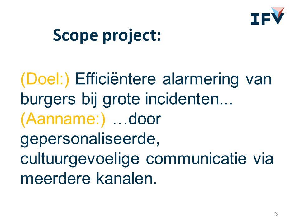 (Doel:) Efficiëntere alarmering van burgers bij grote incidenten... (Aanname:) …door gepersonaliseerde, cultuurgevoelige communicatie via meerdere kan