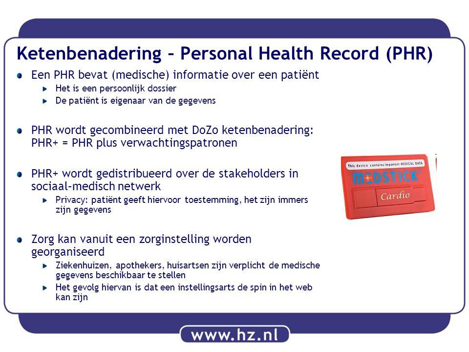 Ketenbenadering – Personal Health Record (PHR) Een PHR bevat (medische) informatie over een patiënt Het is een persoonlijk dossier De patiënt is eigen