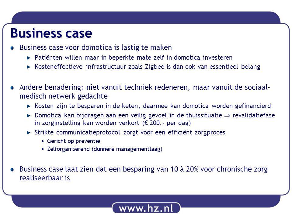 Business case Business case voor domotica is lastig te maken Patiënten willen maar in beperkte mate zelf in domotica investeren Kosteneffectieve infra