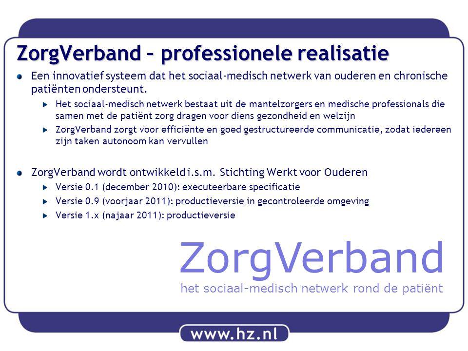 ZorgVerband – professionele realisatie Een innovatief systeem dat het sociaal-medisch netwerk van ouderen en chronische patiënten ondersteunt. Het soc