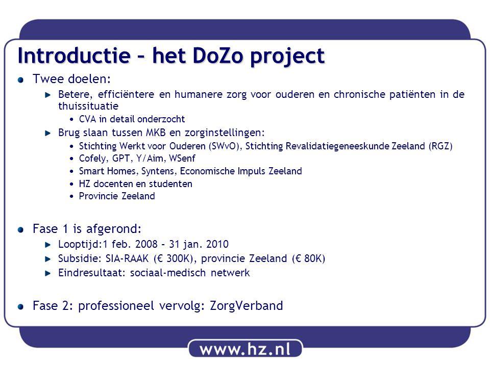 Introductie – het DoZo project Twee doelen: Betere, efficiëntere en humanere zorg voor ouderen en chronische patiënten in de thuissituatie CVA in deta