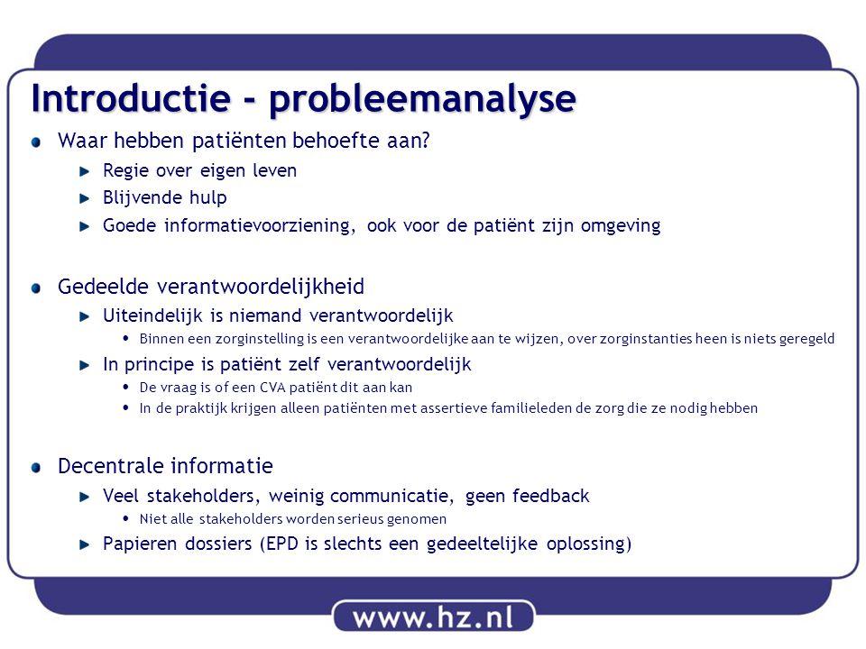 Introductie - probleemanalyse Waar hebben patiënten behoefte aan? Regie over eigen leven Blijvende hulp Goede informatievoorziening, ook voor de patië