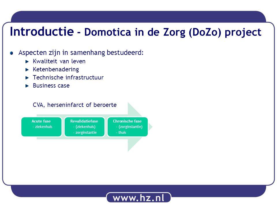 Introductie - Domotica in de Zorg (DoZo) project Aspecten zijn in samenhang bestudeerd: Kwaliteit van leven Ketenbenadering Technische infrastructuur