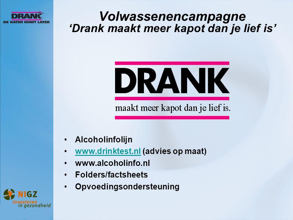 Volwassenencampagne 'Drank maakt meer kapot dan je lief is' Alcoholinfolijn www.drinktest.nl (advies op maat)www.drinktest.nl www.alcoholinfo.nl Folde