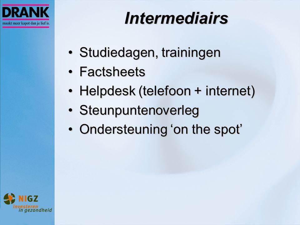 Intermediairs Studiedagen, trainingenStudiedagen, trainingen FactsheetsFactsheets Helpdesk (telefoon + internet)Helpdesk (telefoon + internet) Steunpu