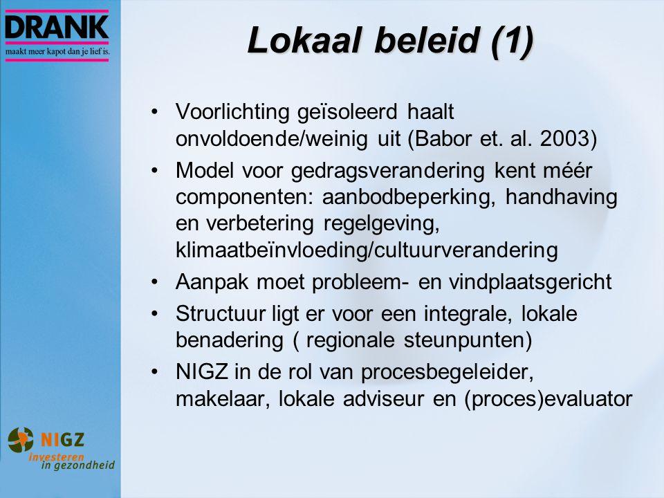 Lokaal beleid (1) Voorlichting geïsoleerd haalt onvoldoende/weinig uit (Babor et. al. 2003) Model voor gedragsverandering kent méér componenten: aanbo