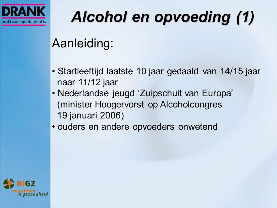 Alcohol en opvoeding (1) Aanleiding: Startleeftijd laatste 10 jaar gedaald van 14/15 jaar naar 11/12 jaar Nederlandse jeugd 'Zuipschuit van Europa' (m