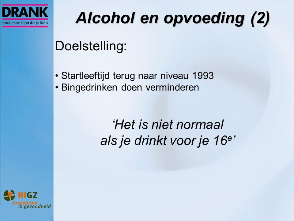 Alcohol en opvoeding (2) Doelstelling: Startleeftijd terug naar niveau 1993 Bingedrinken doen verminderen 'Het is niet normaal als je drinkt voor je 1