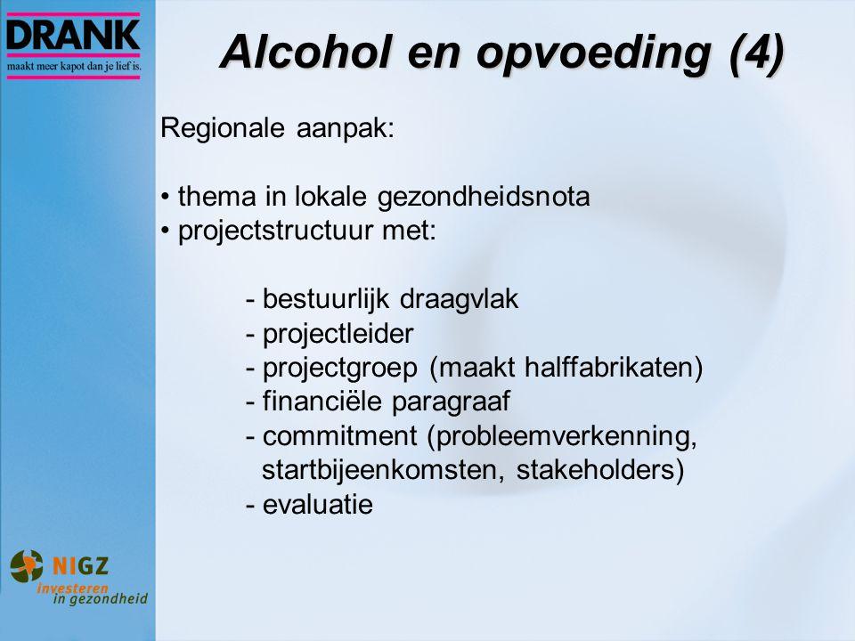 Alcohol en opvoeding (4) Regionale aanpak: thema in lokale gezondheidsnota projectstructuur met: - bestuurlijk draagvlak - projectleider - projectgroe