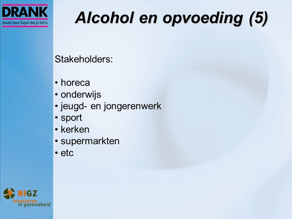 Alcohol en opvoeding (5) Stakeholders: horeca onderwijs jeugd- en jongerenwerk sport kerken supermarkten etc