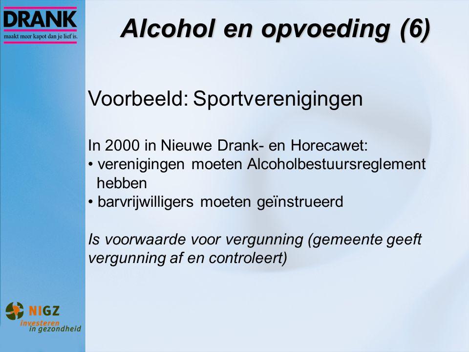 Alcohol en opvoeding (6) Voorbeeld: Sportverenigingen In 2000 in Nieuwe Drank- en Horecawet: verenigingen moeten Alcoholbestuursreglement hebben barvr