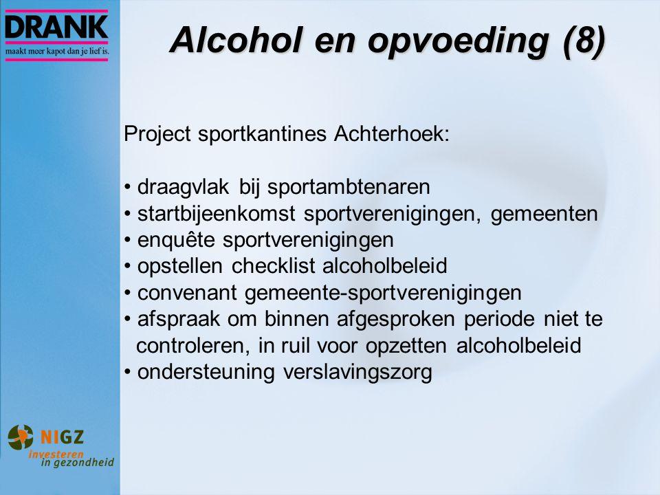 Alcohol en opvoeding (8) Project sportkantines Achterhoek: draagvlak bij sportambtenaren startbijeenkomst sportverenigingen, gemeenten enquête sportve