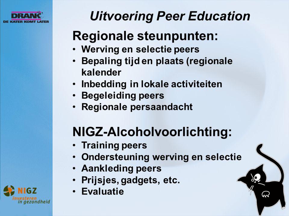 Uitvoering Peer Education Regionale steunpunten: Werving en selectie peers Bepaling tijd en plaats (regionale kalender Inbedding in lokale activiteite