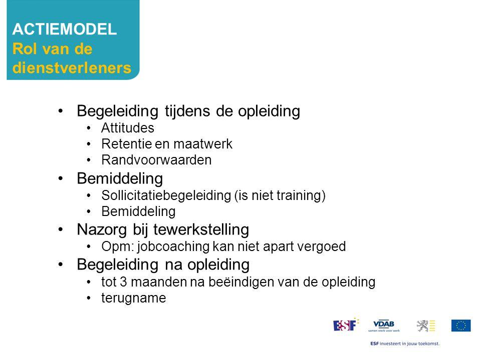 Begeleiding tijdens de opleiding Attitudes Retentie en maatwerk Randvoorwaarden Bemiddeling Sollicitatiebegeleiding (is niet training) Bemiddeling Naz