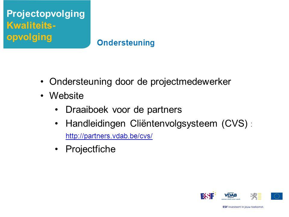 Ondersteuning door de projectmedewerker Website Draaiboek voor de partners Handleidingen Cliëntenvolgsysteem (CVS) : http://partners.vdab.be/cvs/ http