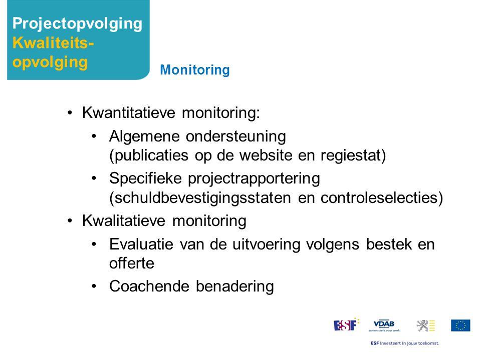 Kwantitatieve monitoring: Algemene ondersteuning (publicaties op de website en regiestat) Specifieke projectrapportering (schuldbevestigingsstaten en