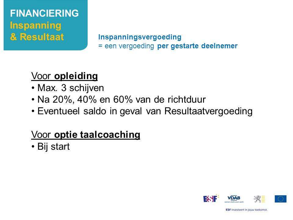 FINANCIERING Inspanning & Resultaat Voor opleiding Max. 3 schijven Na 20%, 40% en 60% van de richtduur Eventueel saldo in geval van Resultaatvergoedin