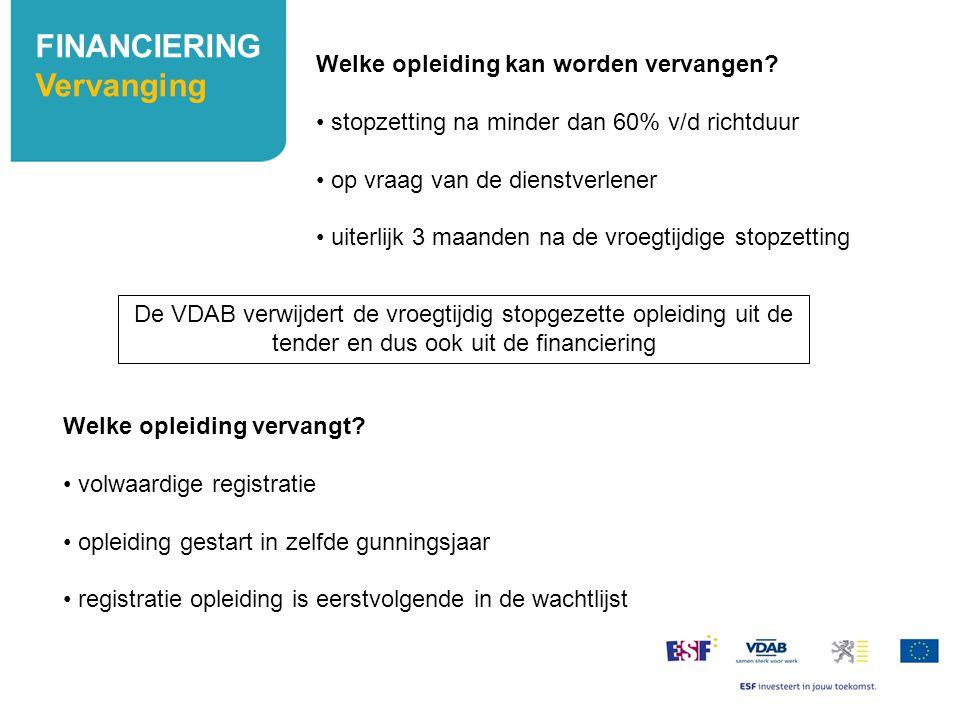FINANCIERING Vervanging Welke opleiding kan worden vervangen? stopzetting na minder dan 60% v/d richtduur op vraag van de dienstverlener uiterlijk 3 m
