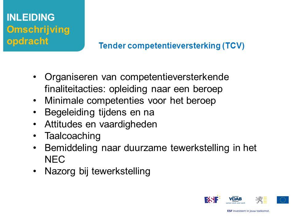 INLEIDING Omschrijving opdracht Organiseren van competentieversterkende finaliteitacties: opleiding naar een beroep Minimale competenties voor het ber