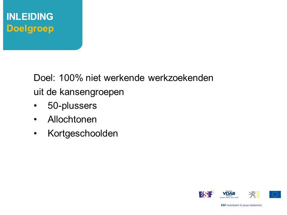 Doel: 100% niet werkende werkzoekenden uit de kansengroepen 50-plussers Allochtonen Kortgeschoolden INLEIDING Doelgroep