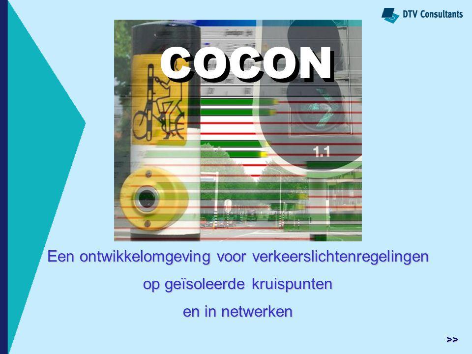 Een ontwikkelomgeving voor verkeerslichtenregelingen op geïsoleerde kruispunten en in netwerken COCON >>