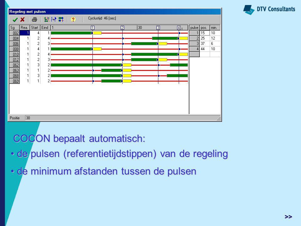 COCON bepaalt automatisch: de pulsen (referentietijdstippen) van de regeling de pulsen (referentietijdstippen) van de regeling de minimum afstanden tu
