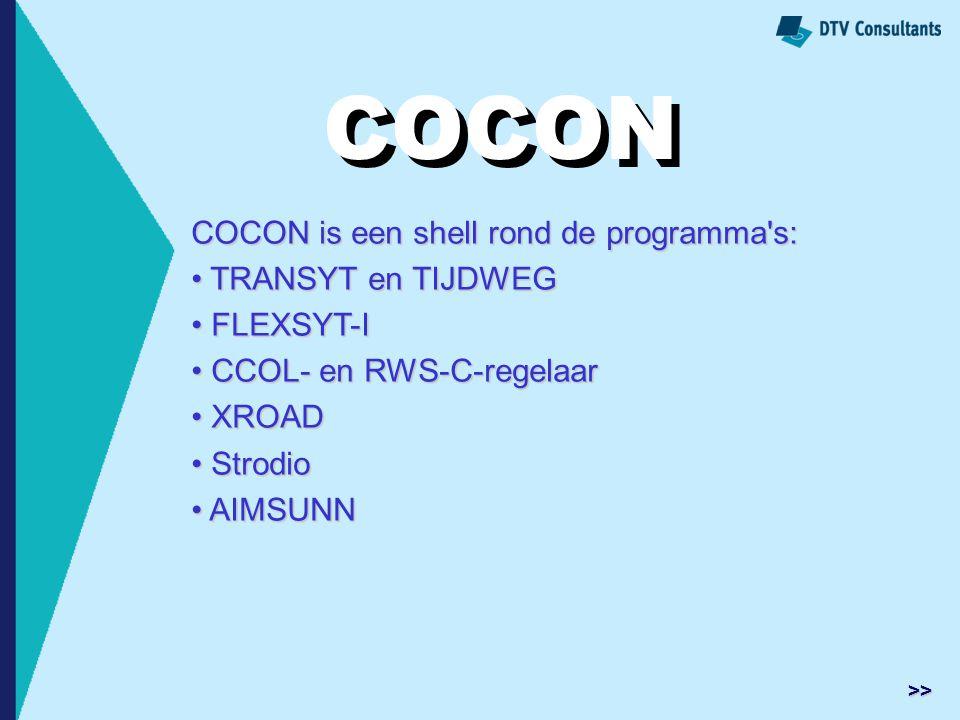 COCON is een shell rond de programma's: TRANSYT en TIJDWEG TRANSYT en TIJDWEG FLEXSYT-I FLEXSYT-I CCOL- en RWS-C-regelaar CCOL- en RWS-C-regelaar XROA