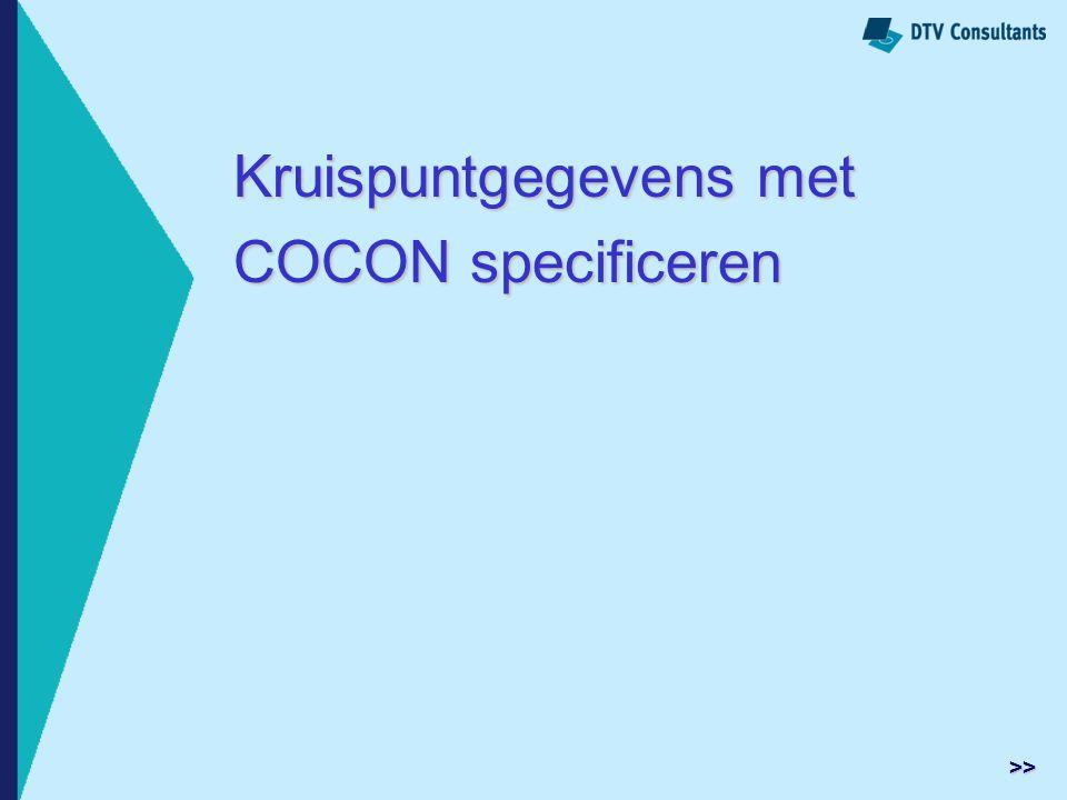 Kruispuntgegevens met COCON specificeren >>