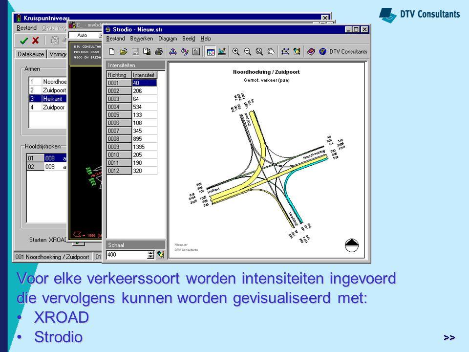 Voor elke verkeerssoort worden intensiteiten ingevoerd die vervolgens kunnen worden gevisualiseerd met: XROADXROAD StrodioStrodio >>
