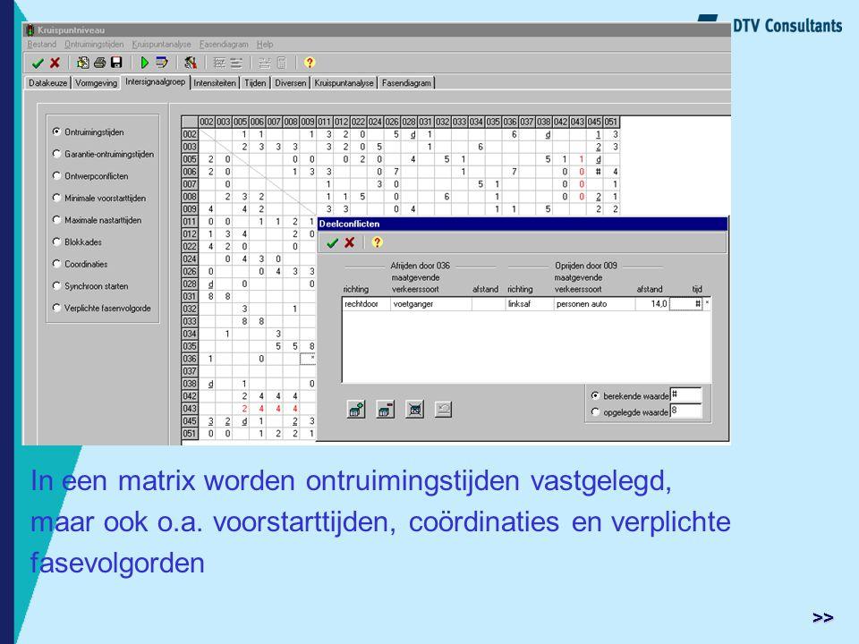 In een matrix worden ontruimingstijden vastgelegd, maar ook o.a. voorstarttijden, coördinaties en verplichte fasevolgorden >>