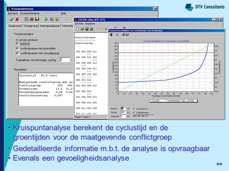 Kruispuntanalyse berekent de cyclustijd en de Kruispuntanalyse berekent de cyclustijd en de groentijden voor de maatgevende conflictgroep groentijden