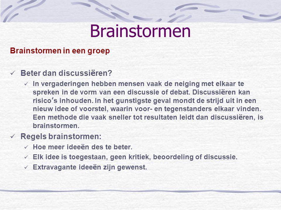 Brainstormen Brainstormen in een groep Beter dan discussi ë ren? In vergaderingen hebben mensen vaak de neiging met elkaar te spreken in de vorm van e