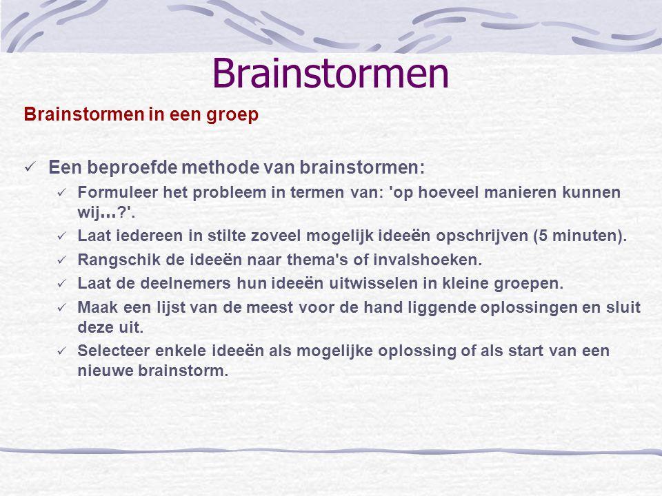 Brainstormen Brainstormen in een groep Een beproefde methode van brainstormen: Formuleer het probleem in termen van: 'op hoeveel manieren kunnen wij …