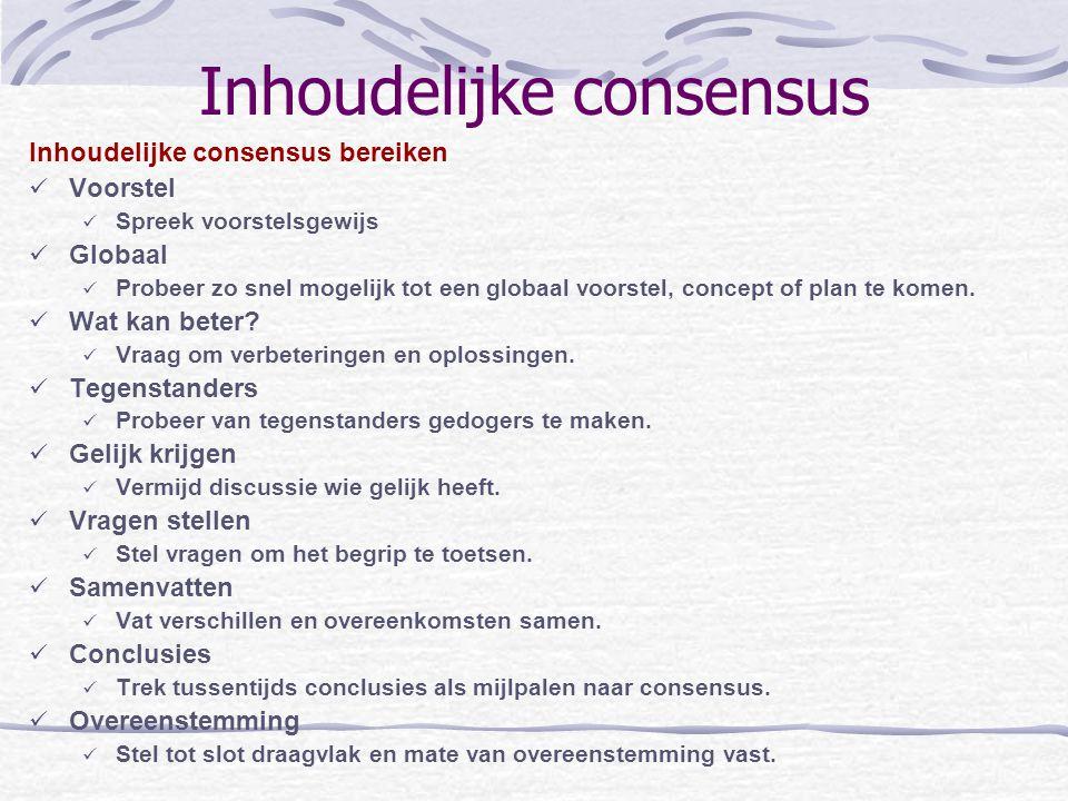 Inhoudelijke consensus Inhoudelijke consensus bereiken Voorstel Spreek voorstelsgewijs Globaal Probeer zo snel mogelijk tot een globaal voorstel, conc