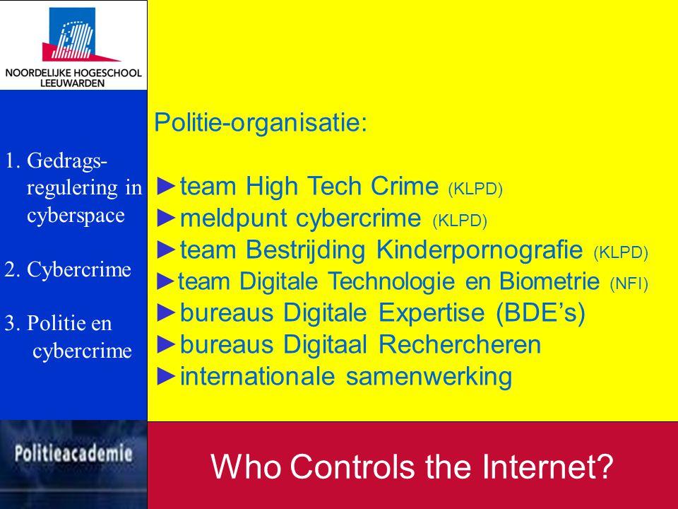 Politie-organisatie: ►team High Tech Crime (KLPD) ►meldpunt cybercrime (KLPD) ►team Bestrijding Kinderpornografie (KLPD) ►team Digitale Technologie en