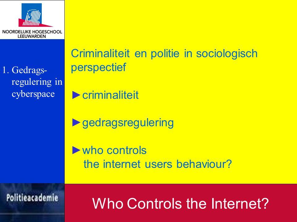 Cyberspace: ►schrijfkunst, boekdrukkunst, telegraaf, telefoon, automobiel, computer, internet ►internet houdt sociale structuren vast ►de sociale structuur op internet noemen we cyberspace Who Controls the Internet.