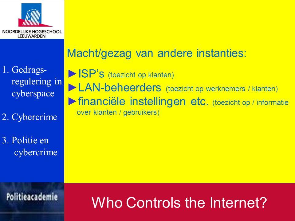 Macht/gezag van andere instanties: ►ISP's (toezicht op klanten) ►LAN-beheerders (toezicht op werknemers / klanten) ►financiële instellingen etc. (toez