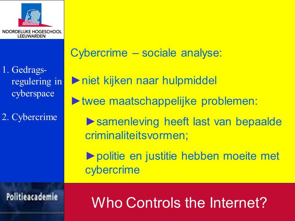 Cybercrime – sociale analyse: ►niet kijken naar hulpmiddel ►twee maatschappelijke problemen: ►samenleving heeft last van bepaalde criminaliteitsvormen