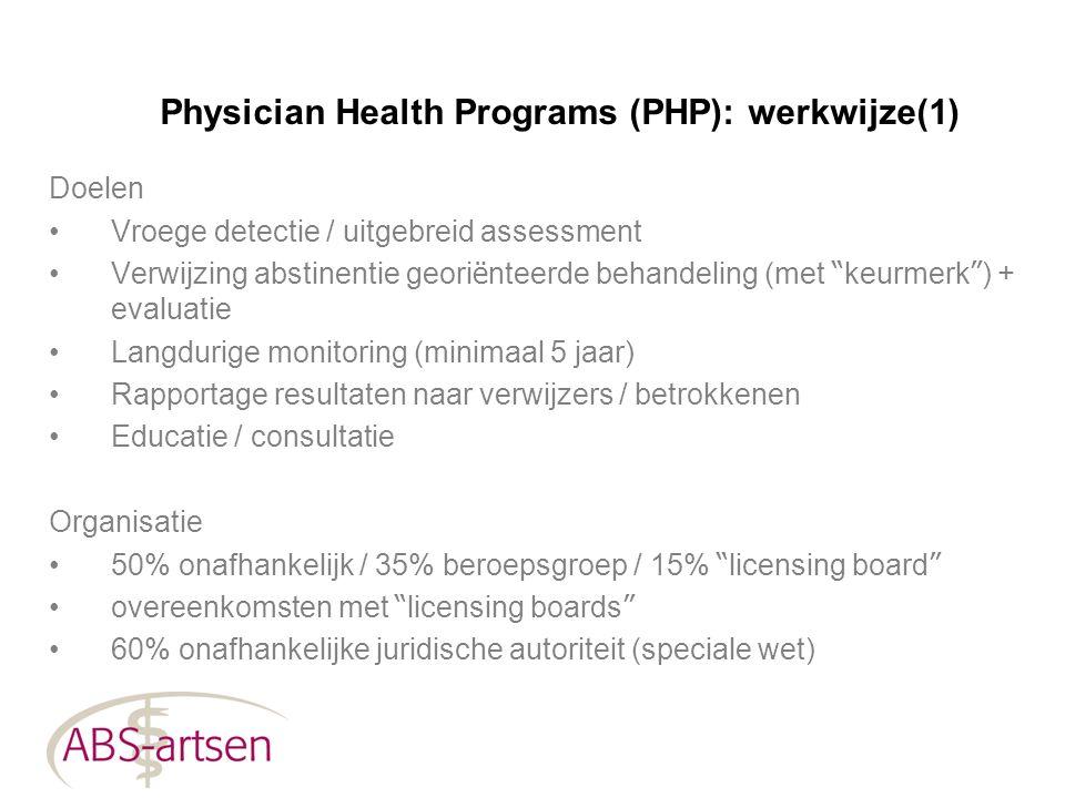 """Physician Health Programs (PHP): werkwijze(1) Doelen Vroege detectie / uitgebreid assessment Verwijzing abstinentie geori ë nteerde behandeling (met """""""