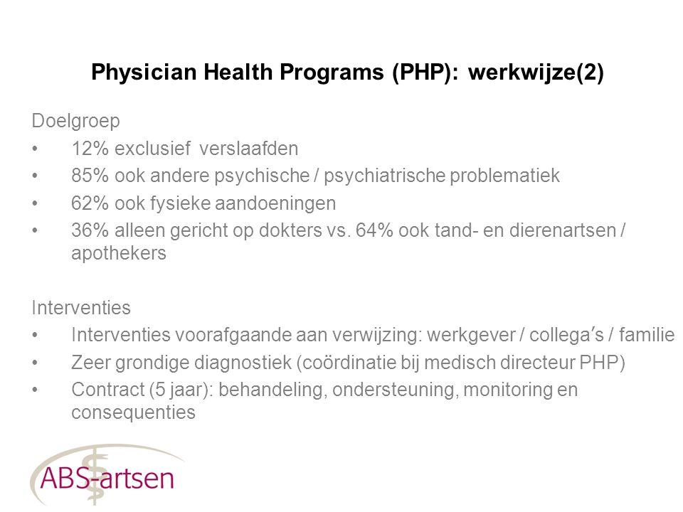 Physician Health Programs (PHP): werkwijze(2) Doelgroep 12% exclusief verslaafden 85% ook andere psychische / psychiatrische problematiek 62% ook fysi