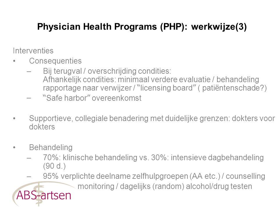 Physician Health Programs (PHP): werkwijze(3) Interventies Consequenties –Bij terugval / overschrijding condities: Afhankelijk condities: minimaal ver