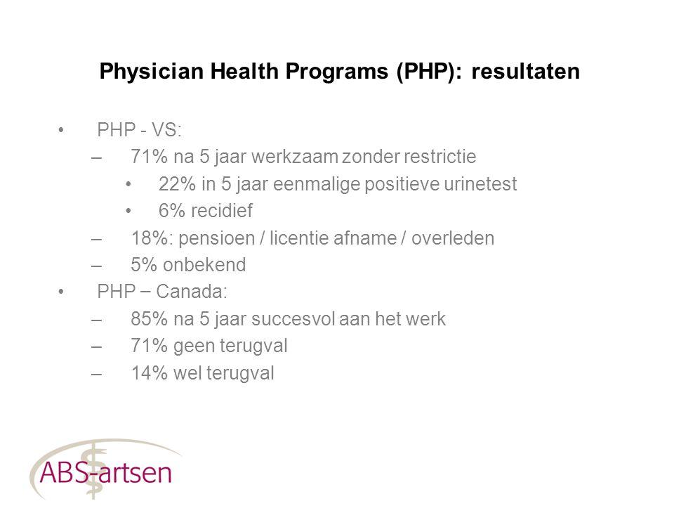 Physician Health Programs (PHP): resultaten PHP - VS: –71% na 5 jaar werkzaam zonder restrictie 22% in 5 jaar eenmalige positieve urinetest 6% recidie