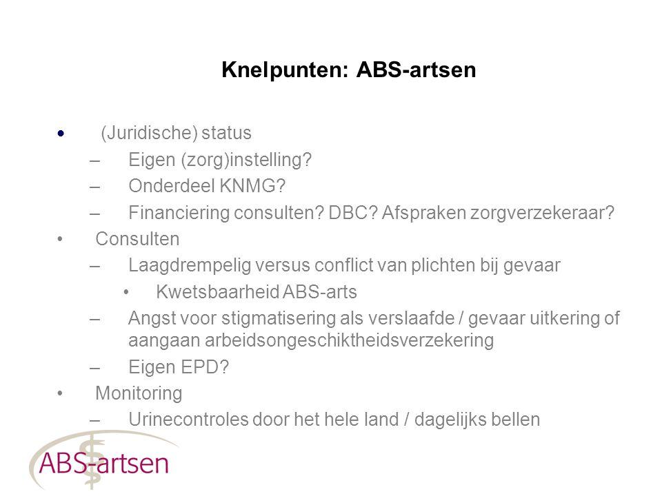 Knelpunten: ABS-artsen (Juridische) status –Eigen (zorg)instelling? –Onderdeel KNMG? –Financiering consulten? DBC? Afspraken zorgverzekeraar? Consulte