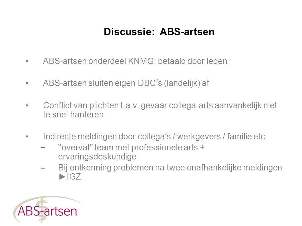 Discussie: ABS-artsen ABS-artsen onderdeel KNMG: betaald door leden ABS-artsen sluiten eigen DBC ' s (landelijk) af Conflict van plichten t.a.v. gevaa