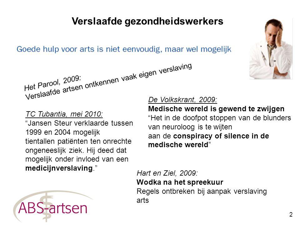 2 Verslaafde gezondheidswerkers Het Parool, 2009: Verslaafde artsen ontkennen vaak eigen verslaving Hart en Ziel, 2009: Wodka na het spreekuur Regels