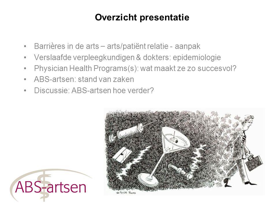 Overzicht presentatie Barri è res in de arts – arts/pati ë nt relatie - aanpak Verslaafde verpleegkundigen & dokters: epidemiologie Physician Health P